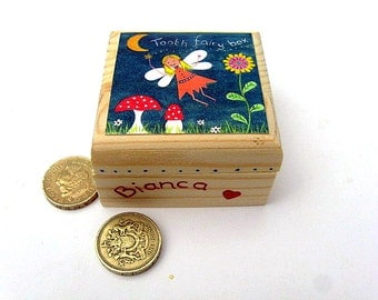 Children's tooth fairy box, Personalised trinket box, Girl's wooden tooth fairy box with printed fairy design