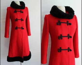 RED wool coat, 1950s fabulous , with MUFF