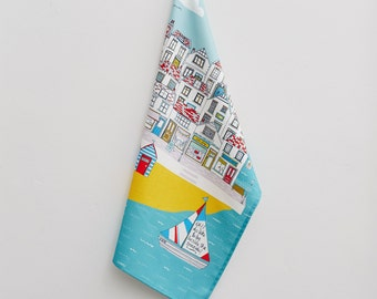 Summer by the Sea Tea Towel - Cotton kitchen textiles - Illustrative tea towel - design led kitchen textiles by Jessica Hogarth
