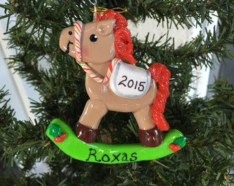 Handcrafted Polymer Clay Rocking Horse Ornament