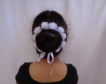 Organza Flower Bun Crown, Bun Wrap, Floral Bun Wreath, Ballet Bun Crown, Ballet Headpiece, Flower Girl Headpiece, Bridal Headpiece