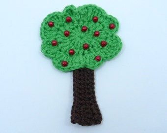 Applique tree, Crochet appliques, 1 green crochet tree, cardmaking, scrapbooking, craft embellishments, sewing accessories,sewing and fiber.