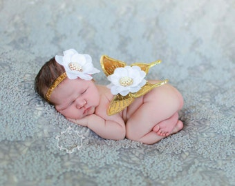 Vintage Antique Gold Jeweled Wings with White Silk Bloom and Matching Headband (SET) - Beautiful Newborn Photo Prop