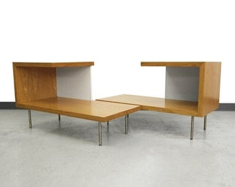 Pair of Mid Century Oak and White Laminate Side Tables by George Nelson for Herman Miller