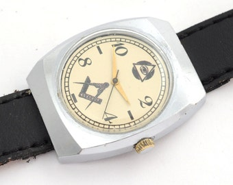 LUCH Masonic vintage Soviet Russian mechanical Watch