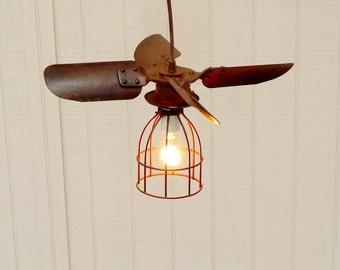 Vintage Fan Blade Light, Hanging Light, Pendant Lighting, Repurposed Light, Light with Bulb Cage, Industrial Lighting, Vintage Light