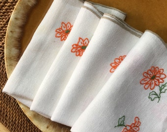 Linen Placemats, Hand Embroidered Bright Orange Floral with Green Leaves