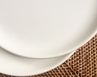 Russel Wright American Modern White Luncheon Plate, Steubenville