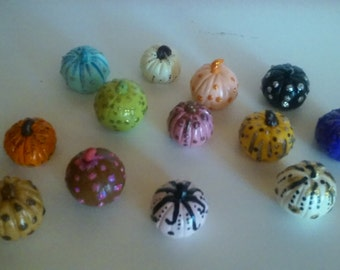 A Mixture of 13 Darling Decorative Different Color Pumpkins    Free Shipping