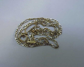 "Estate 10k Yellow Gold Figaro Style  necklace, 13"" Italy"