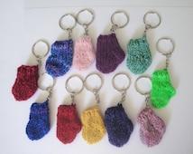 Little Sock Keychain, Choose Color, Stocking Keychain, Christmas Holiday, Sock Keyring, Funny Humorous Stocking Stuffer