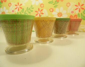 Raffia Sherbet Cups Set Of 4 Pastel Vintage 1960s