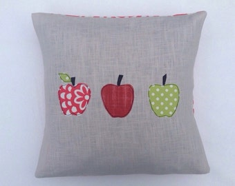 "Apples cushion cover,  free motion applique, linen, Amy Butler cotton, 16"" / 40cm. Made in Belgium."
