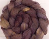Hand dyed merino/ silk top for spinning  -Driftwood -  (4.7  oz.) merino / tussah silk ( 50/ 50)