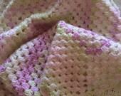 Crochet pram blanket, baby shower gift, new baby girl gift, reborn baby bedding, photo prop, crib cover