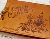 Vintage Leather Snapshots Album Book Unused Souvenir Adirondacks Rustic Photographs Scrapbook