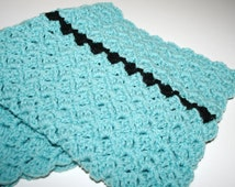 Crochet Lap Blanket Child  Baby Blanket Stroller / Car Blanket Afghan Wheelchair Blanket Textured Reversible Handmade by CzechBeaderyShop
