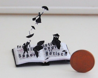 Miniature book sculpture Mary Poppins