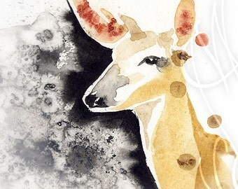 "Martinefa's Original watercolor and Ink ""Biche"""