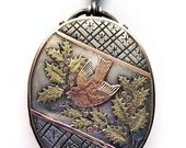 SALE Stunning Victorian Bird & Holly Tri-Color Gold and Silver Aesthetic Locket