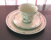 """Noritake Paradise Green Floral #8223/W80 3 pc: 8"""" plate, tea cup and saucer"""