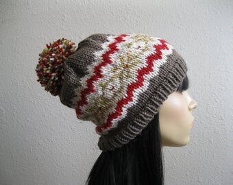 Brown Red Knit Beanie - Fair Isle Slouchy Beanie - Beanie Hat - Knitted Slouchy Beanie - Winter Hats - Knit Beanie Hat - Slouchy Beanie Hat