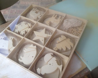 Box of Unfinished Wooden Christmas Ornaments, DIY Christmas Ornaments, Unpainted Wood Shapes