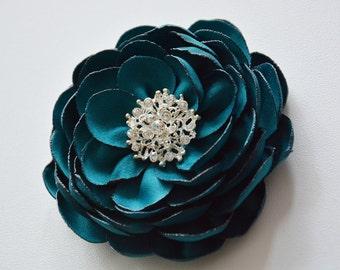 Teal Green, Bridal, Wedding, Flower for Hair, Hair Piece, Head Piece, Flower Hair Clip, Bridesmaid, Fabric Flower, Brooch