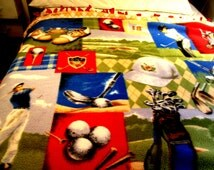 """Golf blanket Throw 66"""" x 50 """" Fringed Fleece Red back Shoes, clubs, bag of clubs, Players etc. Great Father's day gift"""