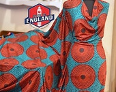 Ankara Jersey Classic Record African Print Jersey Hollandais Wax Fabric ( Price Per 1 Yard)   GREEN AND RED