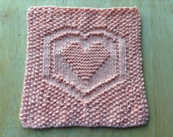 In A Heartbeat Knitted Dishcloth/Washcloth (READY TO SHIP!)