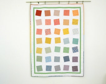 Rainbow Lap Quilt, White Quilt, Feedsack Quilt, Wedding Quilt, Patchwork Quilt, Throw Quilt