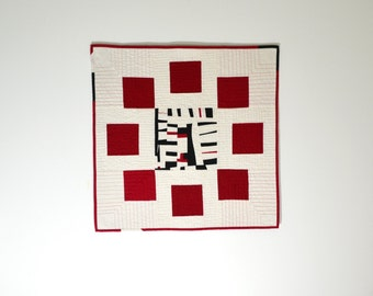 Asian Quilt, Quilted Wall Hanging, Mini Quilt, Black White Red, Fiber Art, Wall Hanging
