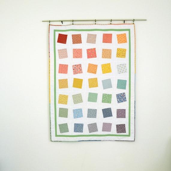 Rainbow Lap Quilt, White Quilt, Feedsack Quilt, Wedding Quilt, Patchwork Quilt, Throw Quilt