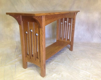 Mission Sofa Table   Solid Quartersawn White Oak, Corbels, Tennons, Cutouts!! Free Shipping