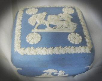 Greek God-Godess-Cherub-Chariot Blue Porcelain Carved Design Trinket Box