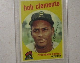 new just in 1959 topps roberto clemente #478 awesome vg card only 1 available in a screwdown case