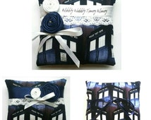 Dr Who Tardis Wedding Ring Pillow- 3 designs available - ( 6x6 inch pillow )