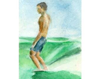 Watercolor Surfer, Surfer Print, Vintage Surfer Print, Surf Print, Surf Art