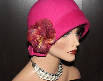 30's inspired flapper Cloche - pink