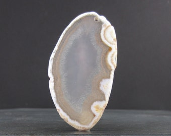 Free  form     agate slice , drilled, geode cabochon, Semiprecious  stone,   Jewelry making Supplies S6525
