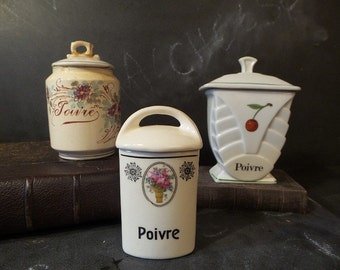 French Antique kitchen canisters set .French kitchen decor .Storage .Instant collection.French country .Kitchenalia