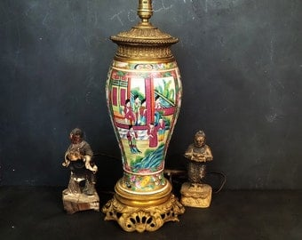 Antique Canton enamel Table Lamp mounted in French Chinoiserie Taste -