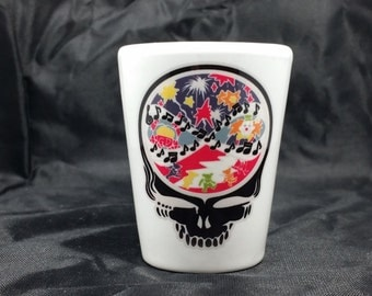 The Music Never Stopped Shot Glass Grateful Dead Stealie