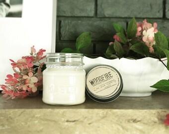 BLACK RASPBERRY VANILLA Wood Wick Mason Jar Soy Candle 8oz Perfect Gift