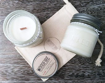 TWIGS & BERRIES Crackling Wood Wick Mason Jar Soy Candle with Gift Packaging
