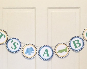 PREPPY JUNGLE SAFARI Baby Shower or Happy Birthday Party Banner Aqua Coral - Party Packs Available