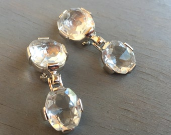 Vintage Swarovski Earrings Huge Crystals Designer Statement Jewelry Bridal earrings Gift for Her