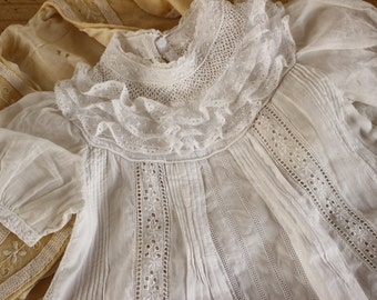 French Antique Baby Dress....A Beautiful Dress With Fine Pin Tucks and Lace Panels.....Baby Gift.