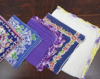 Vintage Handkerchiefs - Cutter Lot in Purples Blues